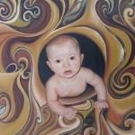 Maleri af kunstneren Jane Bonnerup. Olie på lærred. Titel: Esben - Velkommen til verdenen.