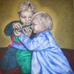 akryl-sand-guldgrund-lærred-børn-engle- drikker-vand